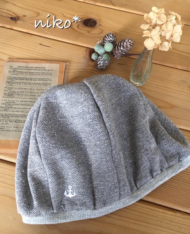 【セミオーダー】裏オーガニックおしゃれリネン帽子(ブルーグレー)