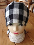 綿麻リバーシブルバンダナ帽子(ブラック)