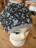 【セミオーダー】綿100%ブラウン花柄ふんわり帽子(花柄x無地)