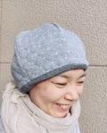 ふんわり可愛いリバーシブルコットン帽子(グレー)