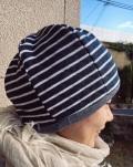 ふんわり可愛いリバーシブルコットン帽子(ネイビー)