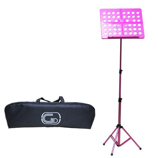 【送料無料】軽量折りたたみ式オーケストラ譜面台 ピンク Foldable Small Music Stand GL-05 (持ち運びケース付)