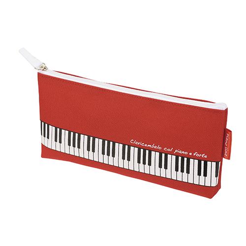 【送料無料メール便】マチ付き鍵盤ペンケース レッド Piano Line 鍵盤がプリントされたカワイイ筆箱