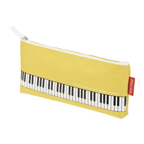 【送料無料メール便】マチ付き鍵盤ペンケース イエロー Piano Line 鍵盤がプリントされたカワイイ筆箱