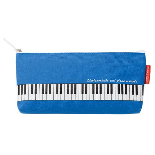 【送料無料メール便】マチ付き鍵盤ペンケース ブルー Piano Line 鍵盤がプリントされたカワイイ筆箱