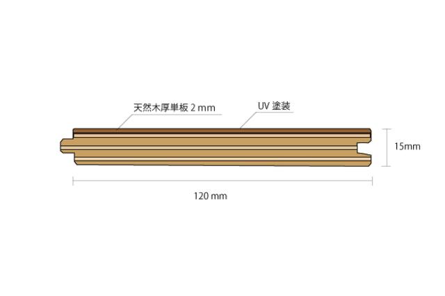 チーク多層複合フローリング断面図