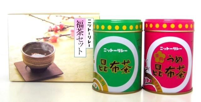 「福茶小缶セット(昆布茶・・80g缶、果肉うめ昆布茶・・60g缶)」
