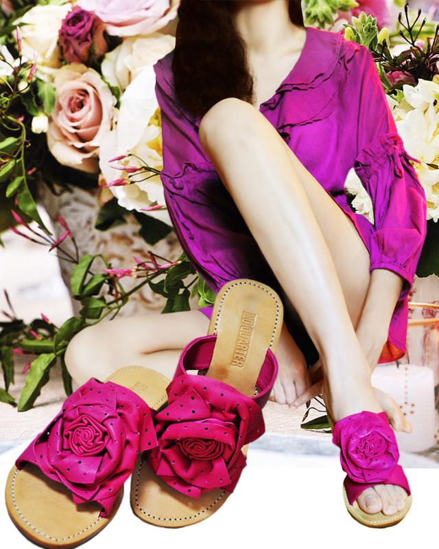 Rose Story☆シープレザー薔薇のサンダル【4色、SML展開】