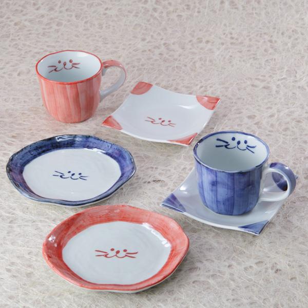 猫食器,コーヒーカップ,ペア,ティータイム