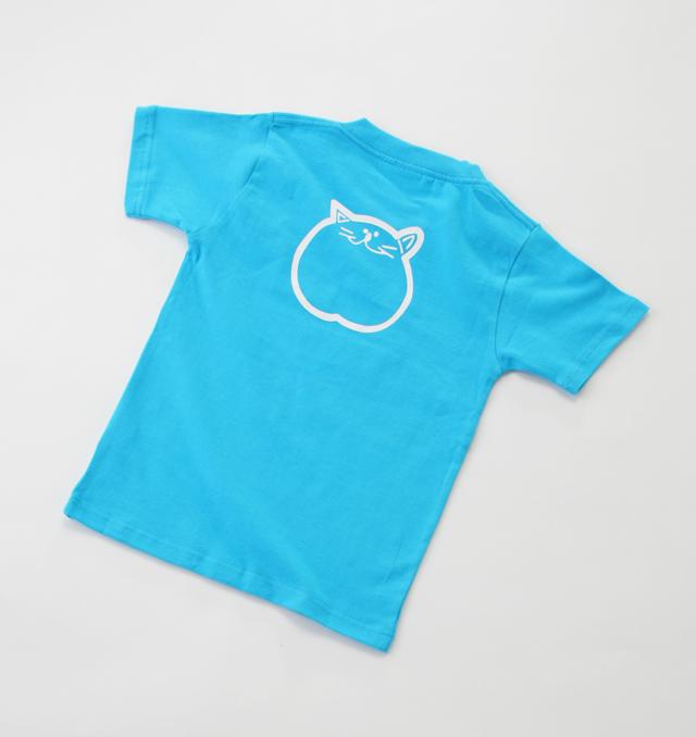 120cm ブルー 子供 Tシャツ 青 のらや 猫