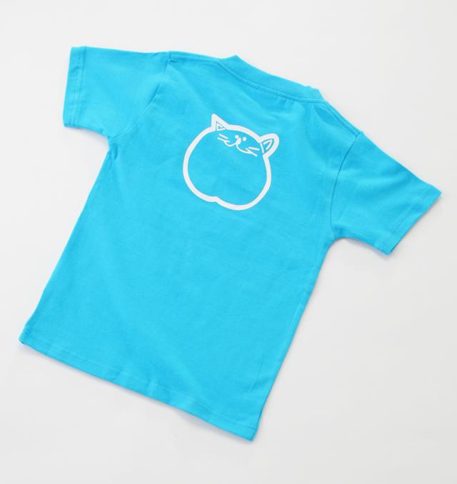 140cm ブルー 子供 Tシャツ 青 のらや 猫