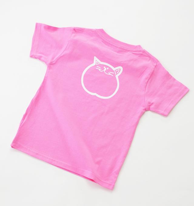 140cm ピンク 子供 Tシャツ 猫 のらや
