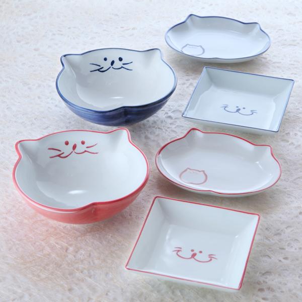 猫食器,浅鉢,スクエア,プレート,楕円皿,のらや,ペア