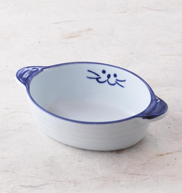 グラタン皿 ブルー 食器 猫 ペア 美濃焼 磁器