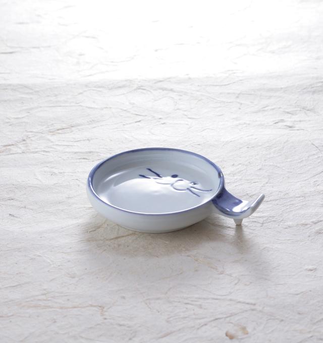箸置き スプーン 猫 食器 のらや 美濃焼 磁器 ブルー 青