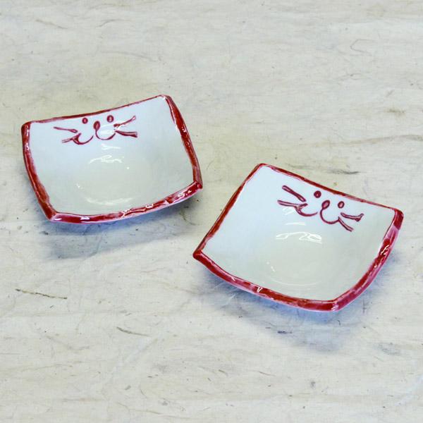 のらやオリジナルのちいさな食器【角豆皿】ピンク2枚セット