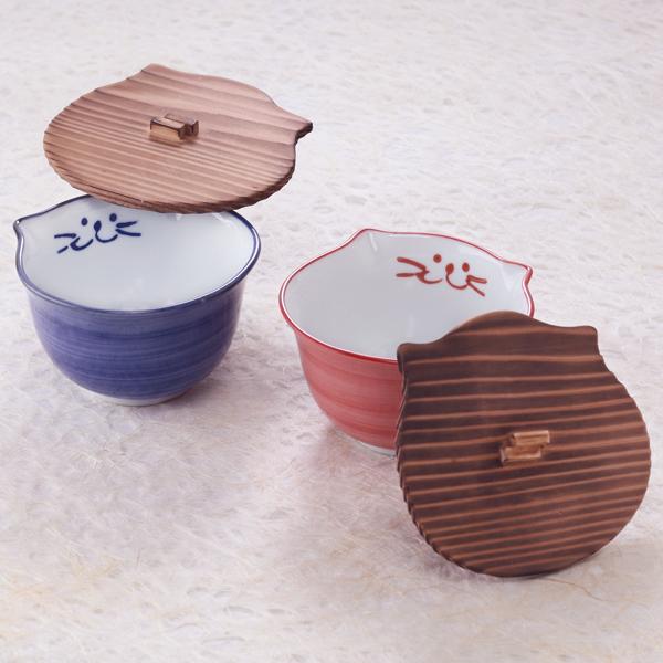 木蓋,茶碗,猫食器,のらや