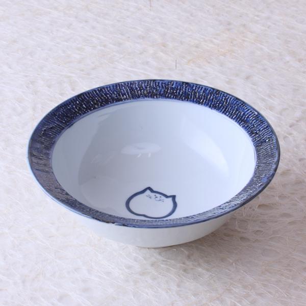 猫食器,のらや,リムボウル,ブルー,のらちゃん