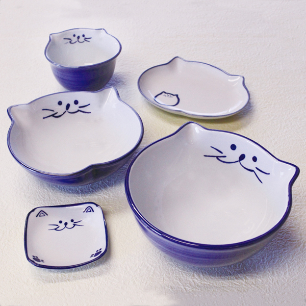 食器セット,セット,中丼,浅鉢,ご飯茶碗,楕円皿,小皿,猫食器