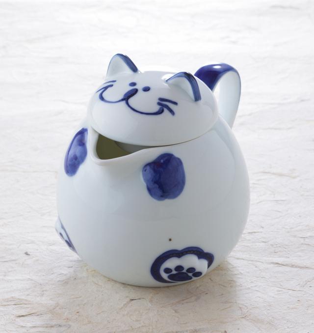 猫ポット 食器 のらや 猫 お茶 美濃焼 磁器 湯呑