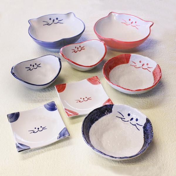 猫食器,食器セット,浅鉢,ペア食器,サラダ碗,取り皿