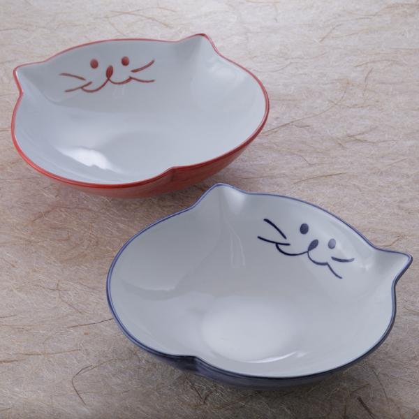 カレーや大皿料理の盛り付けに最適な猫食器22cm鉢のペア【中鉢ペアセット】