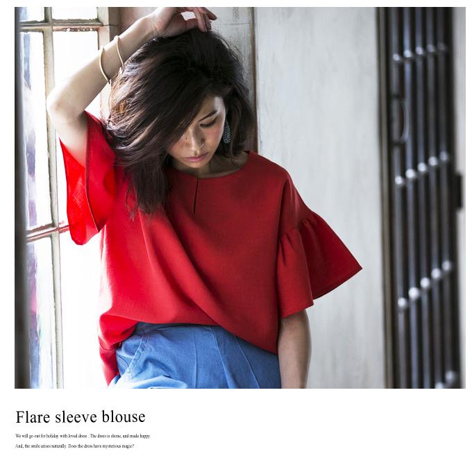 7月19日午前0:00新色&再販【Flare sleeve blouse】レディース フレア ブラウス