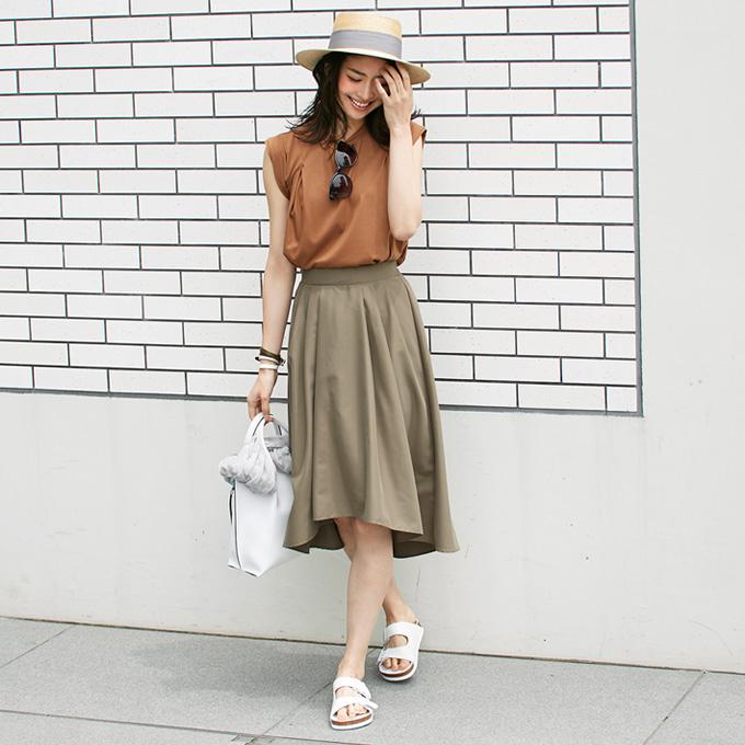 ≪andGIRL 11月号掲載≫9月6日午前0:00新色&再販【Back hem flare skirt】レディース スカート
