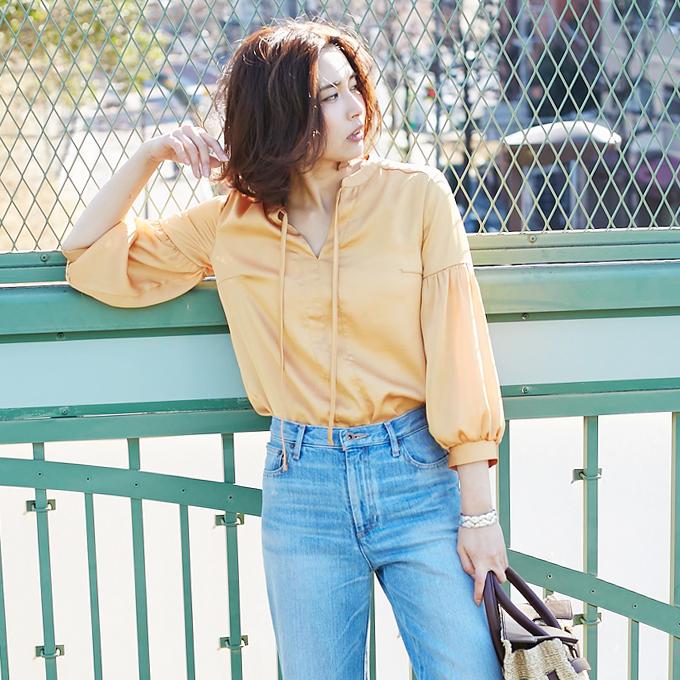 【Satin blouse】レディース  サテン ブラウス