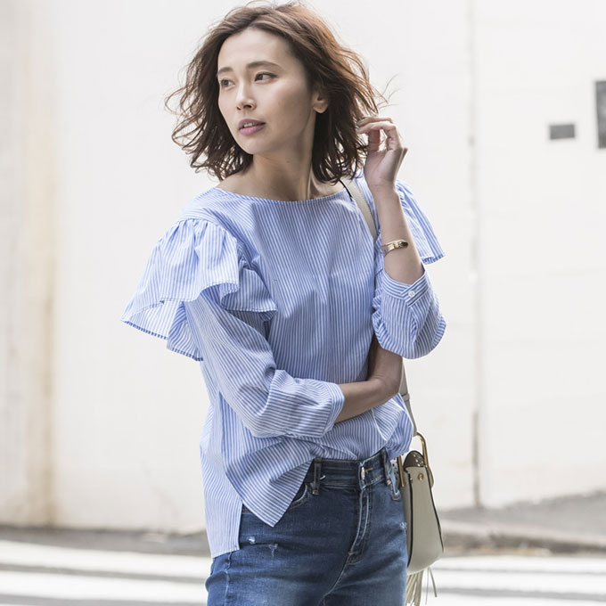 4月11日午前0:00再販【Stripe shoulder frill tops】レディース 肩フリル トップス