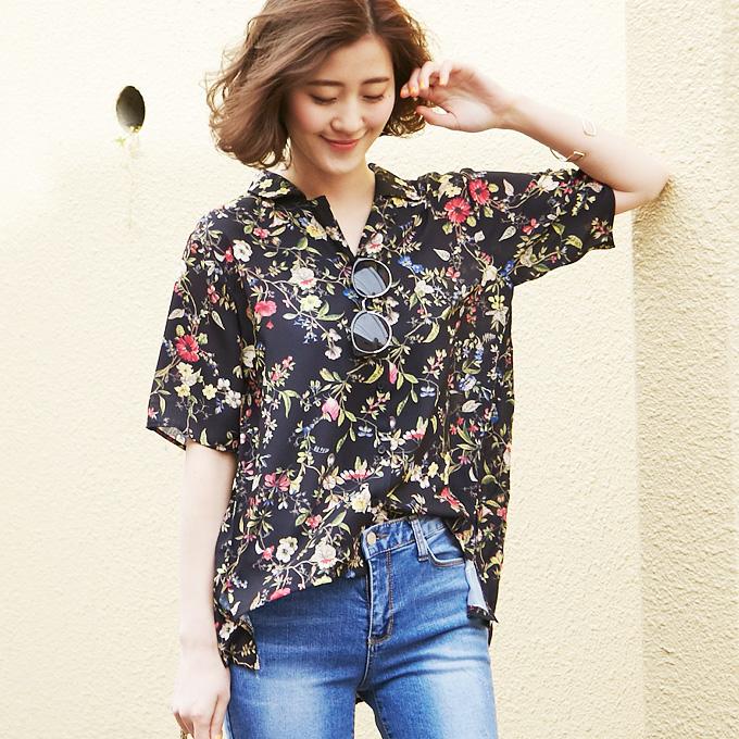 【Back pleats blouse】レディース  バック プリーツ ブラウス