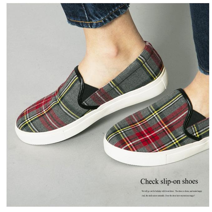 《CLASSY.1月号掲載》【Check slip-on shoes】レディース チェック スリッポン*SALE品につき返品/交換/注文確定後の変更キャンセル不可