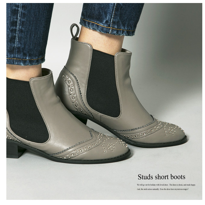 《CLASSY.1月号掲載》【Studs short boots】レディース スタッズ ブーツ*SALE品につき返品/交換/注文確定後の変更キャンセル不可