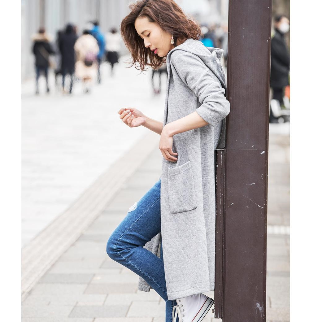 3月10日午前0:00再販!【Hood long cardigan】レディース フード カーディガン