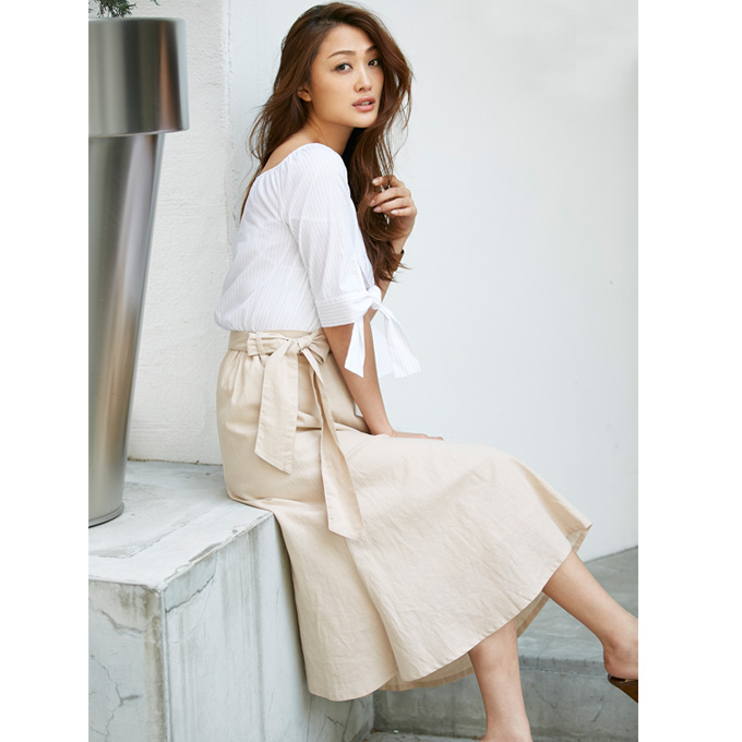 ≪CLASSY.7月号掲載≫【Waist ribbon flare skirt】レディース リネン フレア スカート