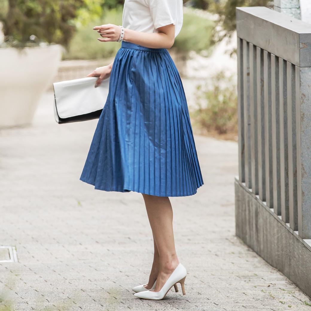 3月29日午前0:00再販【Denim pleats skirt】レディース デニム プリーツ