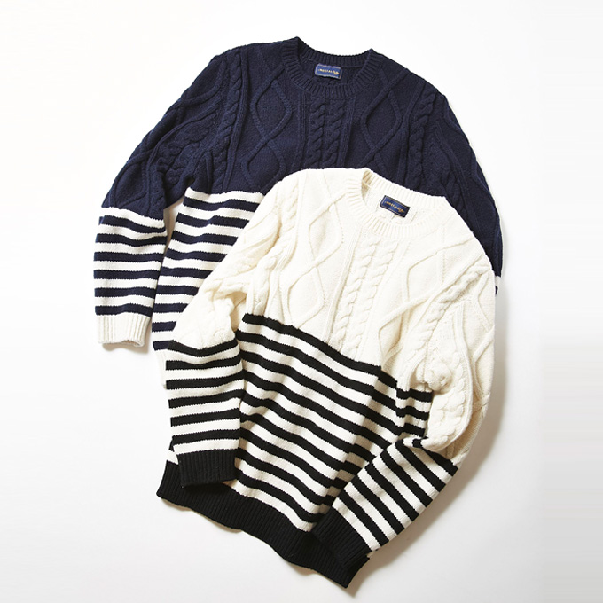 &.NOSTALGIA Luxe line【Border cable Knit】レディース  日本製 ニット