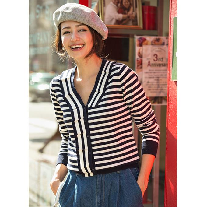 3月15日午前0:00再販【Frill border knit cardigan】レディース  ボーダー フリル カーディガン