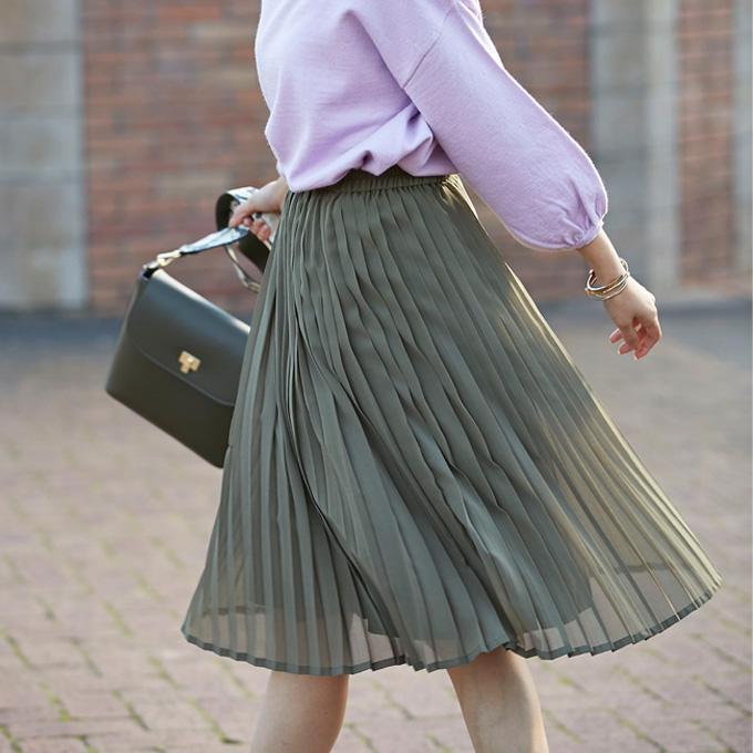 【Chiffon pleats skirt 】レディース シフォン プリーツ スカート