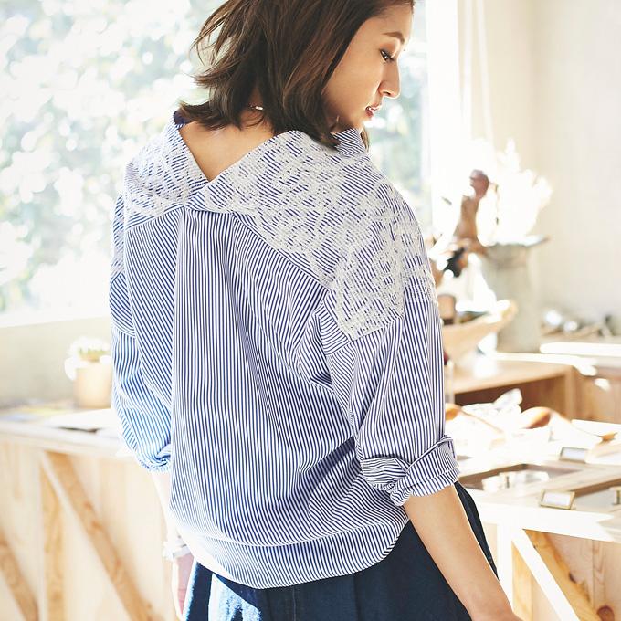 5月2日午前0:00新色&再販【Emboidery stripe V neck shirt】レディース  花刺繍 シャツ