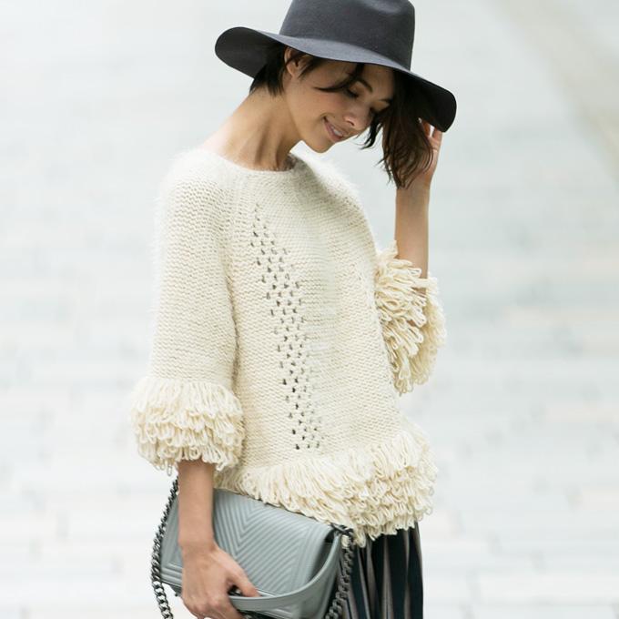 《CLASSY.1月号掲載》《Domani12月号掲載》他雑誌掲載多数【Fringe mop knit】レディース フリンジ ニット