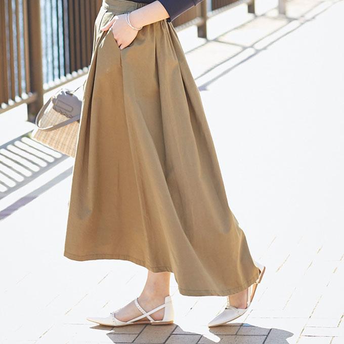 2月14日午前0:00再販【Tuck long skirt】レディース  タック スカート