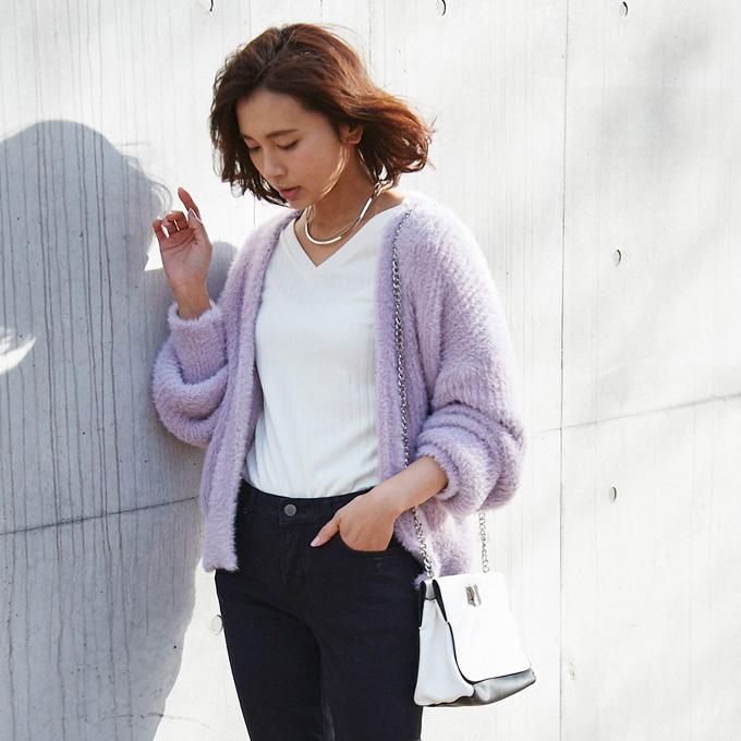 【Marshmallowyarn knit cardigan】レディース ふわふわ カーディガン