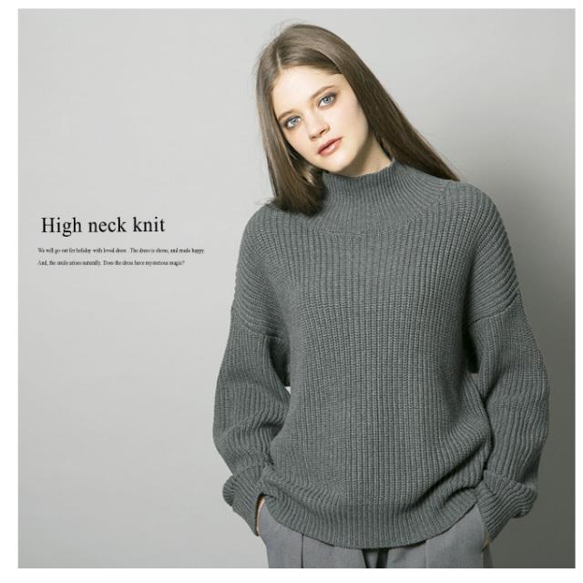 《STORY3月号掲載》《CLASSY.1月号掲載》《Oggi 12月号掲載》【High neck knit】レディース ニット 無地 ハイネック*SALE品につき返品/交換/注文確定後の変更キャンセル不可*
