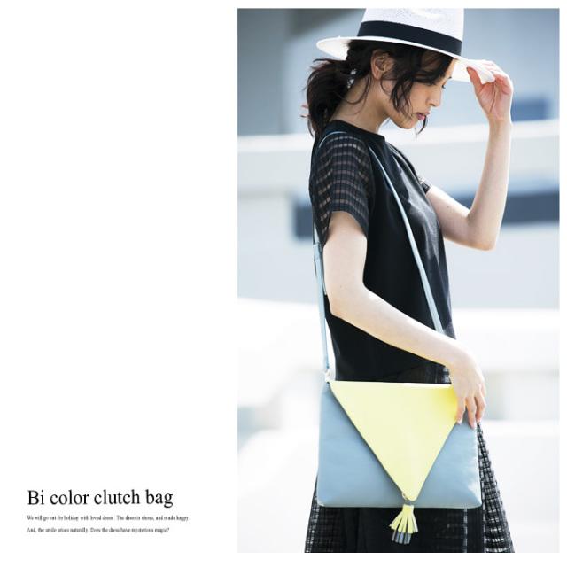 《美人百花2月号掲載》【Bi color clutch bag】レディース 配色 クラッチ*SALE品につき返品/交換/注文確定後の変更キャンセル不可