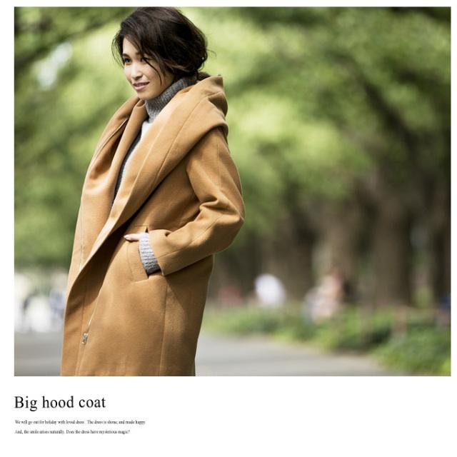 《GINGER 3月号掲載《CLASSY.1月号掲載》【Big hood coat】レディース フード コート*SALE品につき返品/交換/注文確定後の変更キャンセル不可*