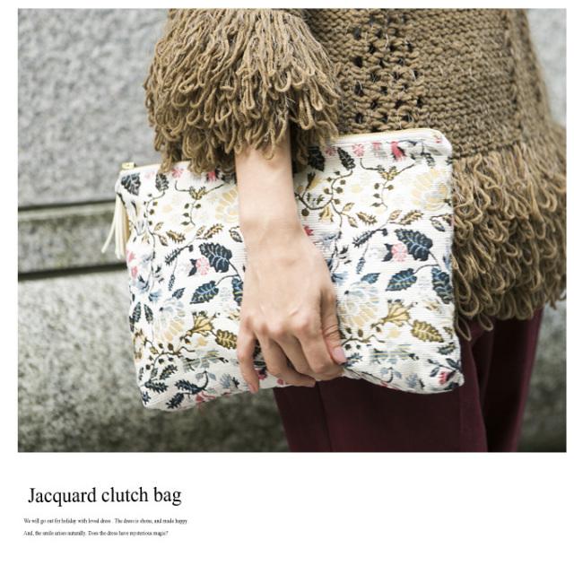 【Jacquard clutch bag】レディース ジャガード クラッチ*SALE品につき返品/交換/注文確定後の変更キャンセル不可*