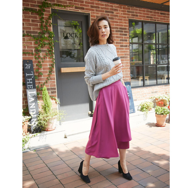 ≪steady.12月号掲載≫3月12日午前0:00再販【Wrap long skirt】レディース ラップ スカート