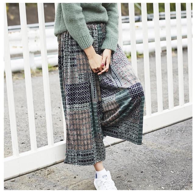 《InRed 2月号掲載》【 Bohemian print velour wide pants】レディース ベロア *SALE品につき返品/交換/注文確定後の変更キャンセル不可* パンツ