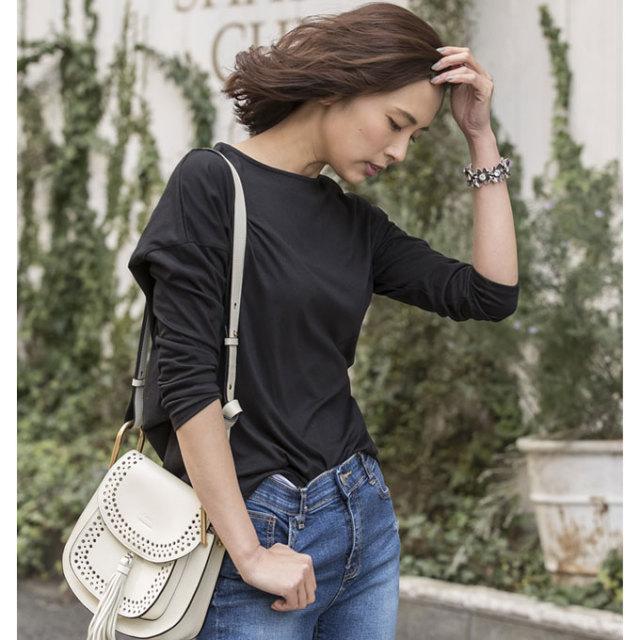 【Hem baloon Long T shirt】レディース  裾バルーン 変形 Tシャツ
